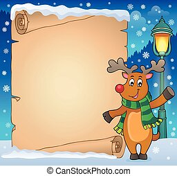 Parchment with stylized Christmas deer illustration.