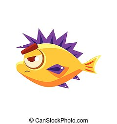 Pissed Off Yellow Fantastic Aquarium Tropical Fish With Spiky Purple Fins Cartoon Character