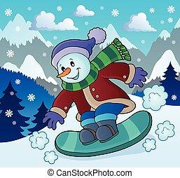 Snowman on snowboard theme illustration.
