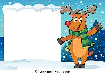 Snowy frame with stylized Christmas deer illustration.