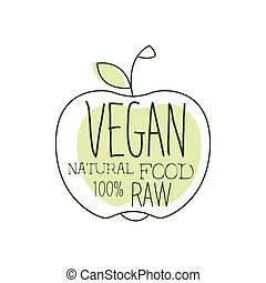 Fresh Vegan Food Promotional Sign With Apple Silhouette For...