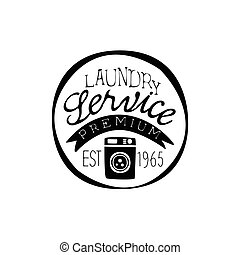 Black And White Sign For The Laundry And Dry Cleaning Service In Round Frame With Washing Mahine