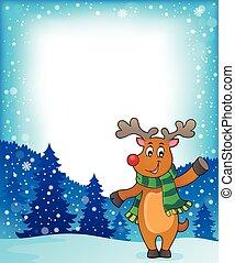 Stylized Christmas deer theme image illustration.