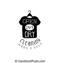 Black And White Sign For The Laundry And Dry Cleaning Service With T-shirt Silhouette Open Twenty Four Hours Seven Days A Week