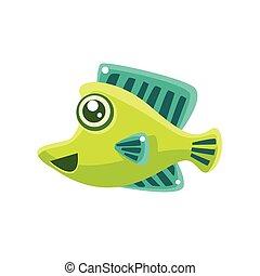 Smiling Green Fantastic Aquarium Tropical Fish Cartoon Character