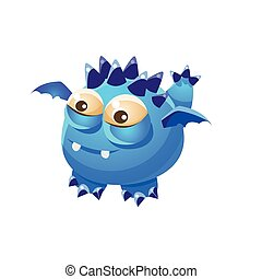 Blue Spiky Fantastic Friendly Pet Dragon With Tiny Wings Fantasy Imaginary Monster Collection