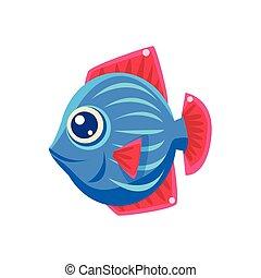 Blue Stripy Fantastic Aquarium Tropical Friendly Fish Cartoon Character