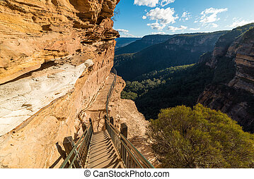 Mountain track over cliff edge - Mountain track staircase...