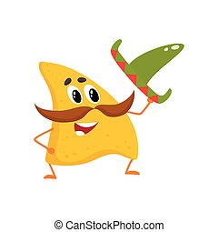 Smiling nachos with thick moustache and Mexican sombrero