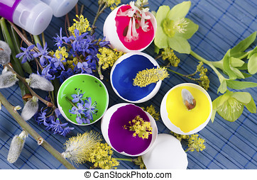 Beautiful Easter decoration with egg shells with paints and...