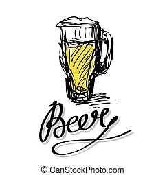 letters and beer glass