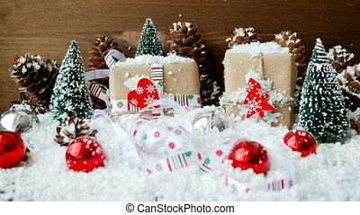 Christmas and New Year background with decorations, snow,...