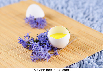 Easter decoration with spring flowers and egg shell