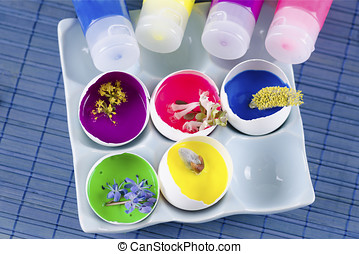 Easter decoration with spring flowers ans egg shells with...