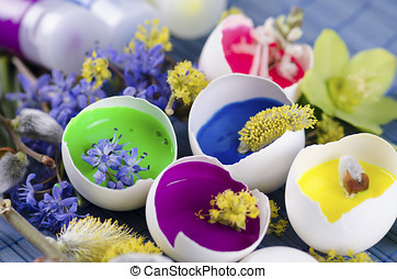 Georgeous Easter decoration with egg shells and paints