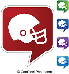 Football Helmet - Football helmet web button isolated on a...