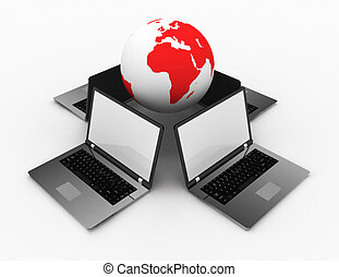 3d laptops and earth globe outsourcing concept