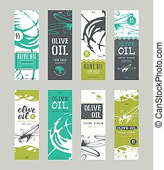 Set of templates label for olive oil