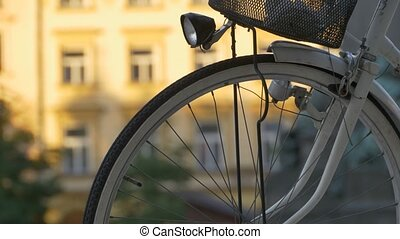 Bicycle Spokes and Lantern - Close-up shot of a retro bike...
