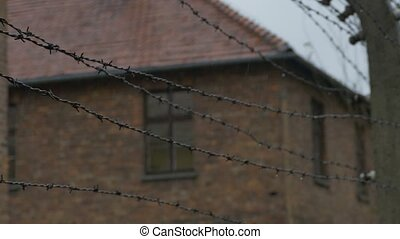 Barbed Wire on Electric Fence - Babrbed wire on a...