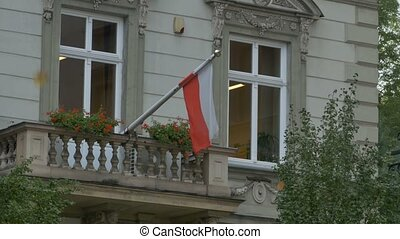 Flag of Poland on Balcony - The flag of Poland on a balcony...