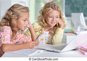 beautiful little girls at class - Portrait of a two...