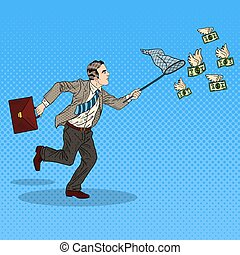 Pop Art Businessman Catching Flying Money. Vector...