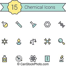 Science line icon set. Chemical icons of molecule, tube,...
