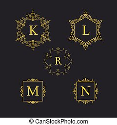 Set art deco luxury classic linear monochrome golden minimal hipster geometric vintage vector monogram, frame, border