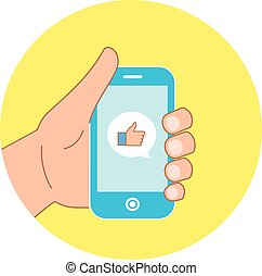 Vector flat concept - hand with mobile phone of message with like icon on yellow circle background for your website.