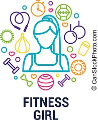 Fitness logo - fitness girl and gym tools on circle background. Color line icons of dumbbells, fitball, protein, stopwatch, punching bag, workout clothes and other.