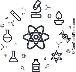 Science line icons. Chemical icons. Circle background....