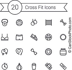 Set of crossfit gym equipment line icons of dumbbells, fitball, protein, stopwatch, punching bag, workout clothes and other. Crossfit training tools.