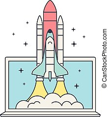 Web business startup concept. Space Shuttle Launch. Spaceship and laptop. Space shuttle takes off.