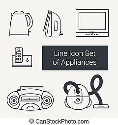 Line icon set of home appliances: kettle, iron, TV, vacuum cleaner, telephone, tape recorder