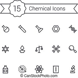 Science line icon set. Chemical icons. - Science line icon...