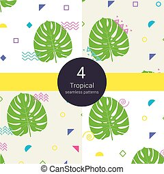 Abstract monstera tropical vector palm floral liana seamless...