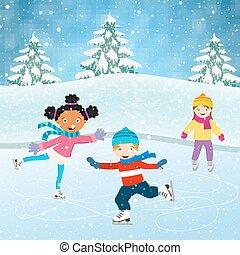 Winter scene with skating children. Illustration of kids...