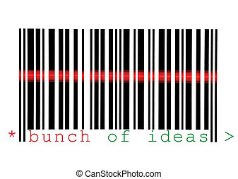 Scanning Bunch of Ideas Barcode Macro Closeup Isolated On...