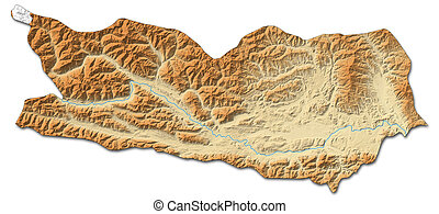 Relief map - Carinthia (Austria) - 3D-Rendering - Relief map...