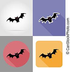 halloween bat flat icons illustration isolated on background