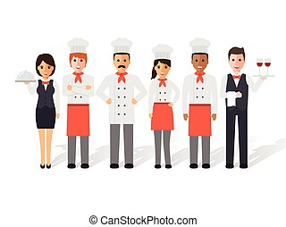 Chefs and restaurant team - Group of head chefs, man and...