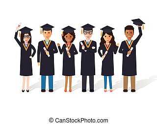 Graduation students - Group of diverse school, college and...