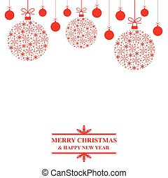 Christmas congratulatory card with decorative baubles -...