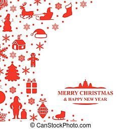 Christmas congratulatory card - Vector illustrations of...