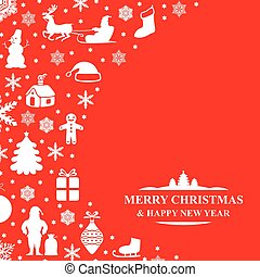 Christmas congratulatory card on red background - Vector...