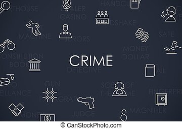 Crime Thin Line Icons - Thin Stroke Line Icons of Crime on...
