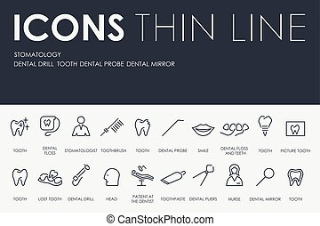 Stomatology Thin Line Icons - Thin Stroke Line Icons of...