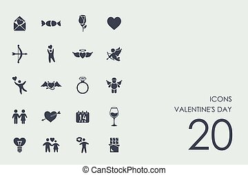 Set of Valentine's Day icons - Valentine's Day vector set of...