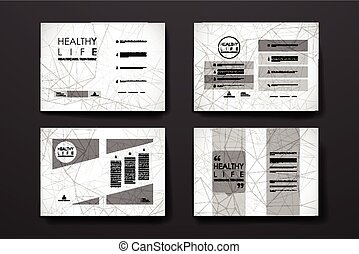 Set of brochure, poster design templates in healthcare style...